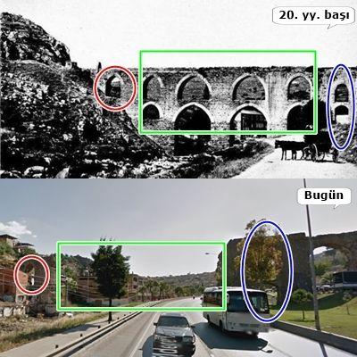 Vezirağa su kemerinin orta kısmı 1930 selinde çökmüştür. / The middle part of the aqueduct was collapsed due to flood in 1930.