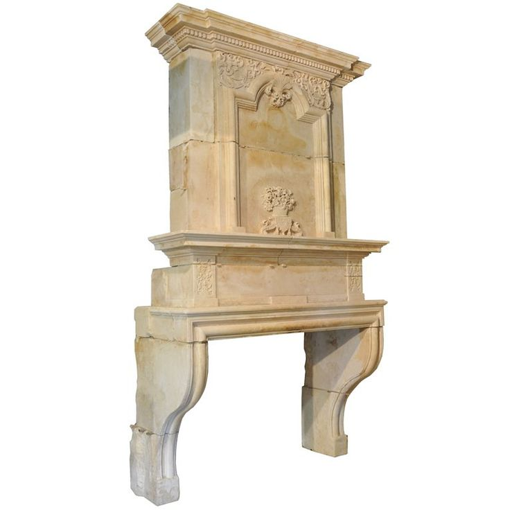 French Louis XIV Period Limestone Fireplace - 17th century | From a unique collection of antique and modern fireplaces and mantels at https://www.1stdibs.com/furniture/building-garden/fireplaces-mantels/