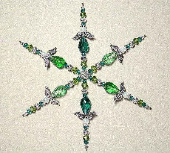 Beaded Snowflake Ornament ~ Christmas Ornament ~ Suncatcher ~ Emerald Green Guardian Angel Ornament ~ Crystal Ornament ~ Snowflake ~ Arizona