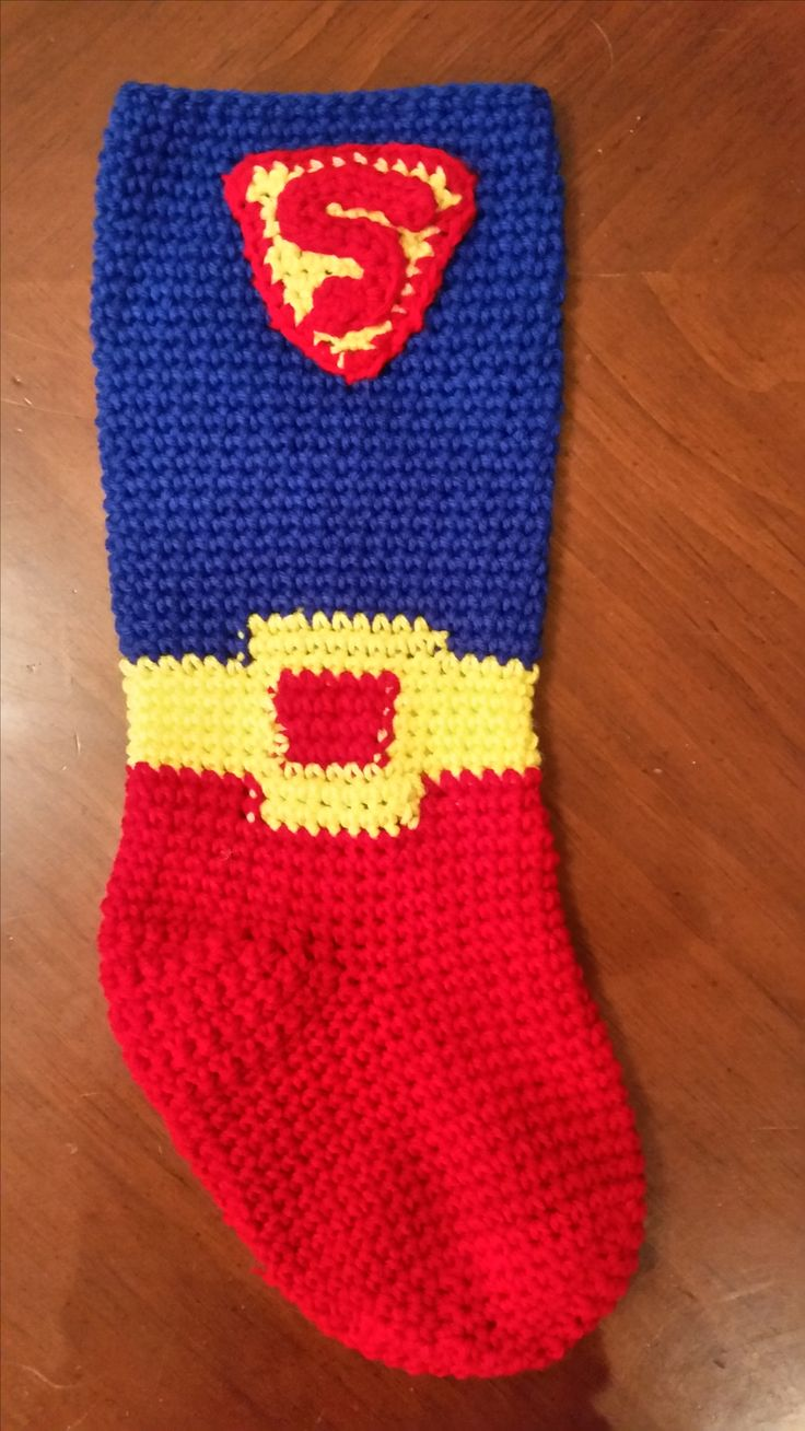 Superman crochet stocking