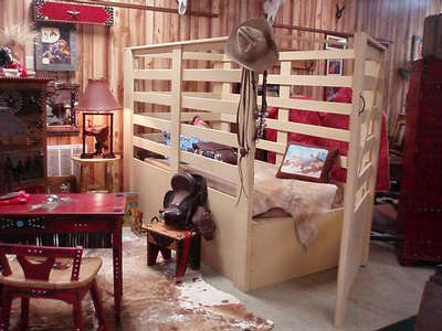 Oh my goodness.... A buckin' chute bed! My little cowboy Brody would be in heaven!