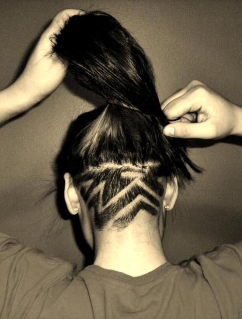 My baby buzzed the back of my hair and gave me this cut. Yeah buddy.
