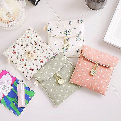 Linen Sanitary Napkin Towel Pad Small Mini Bag Case Pouch Holder Carrying Easy
