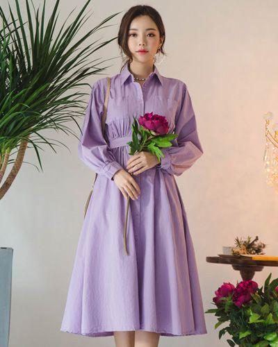 Spread Collar Elasticated Waist Dress CHLO.D.MANON   #purple #dress #collared #elegant #koreanfashion #kstyle #kfashion #dailylook #springtrend