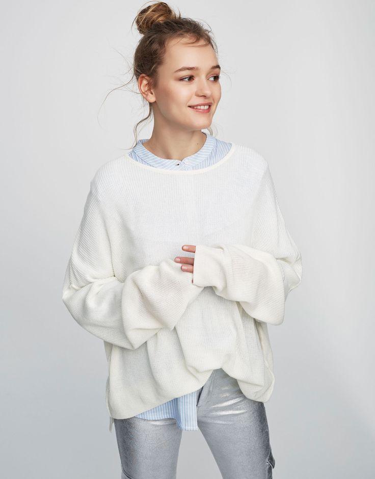 Camisola com costuras (branco): PULL&BEAR (5,99€) ✓