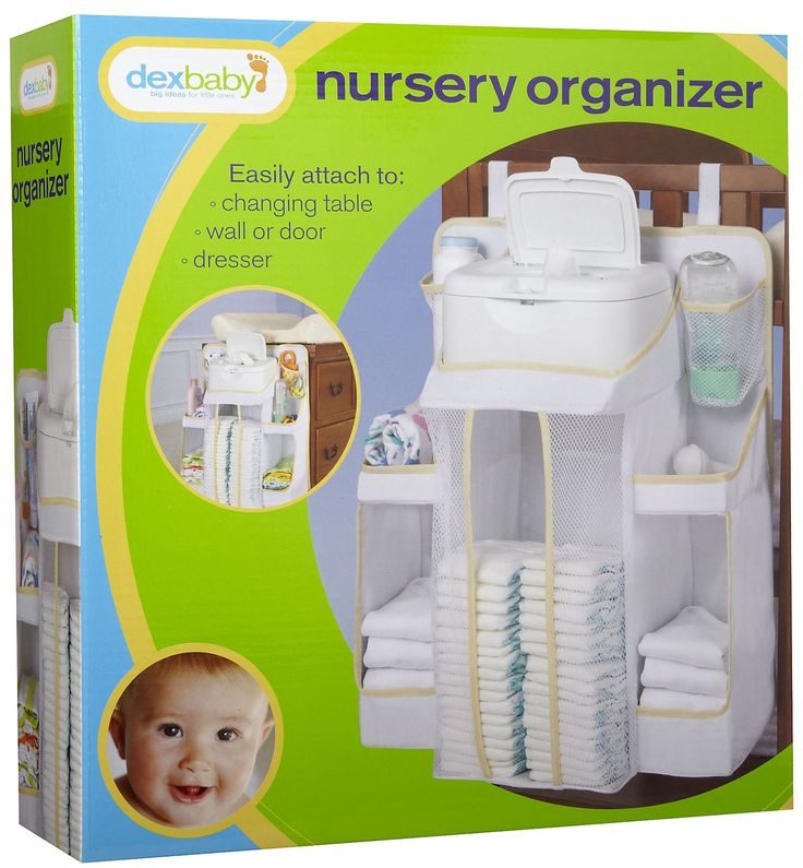Dex Products Baby Product Organizer $23.29 - The ultimate baby organizer neatly store baby's essentials where you need them most. Attach it to your changing table, dresser, wall, or crib. Convenient pockets and shelves provide easy access to diapers, wipes, lotions, creams, and toys.