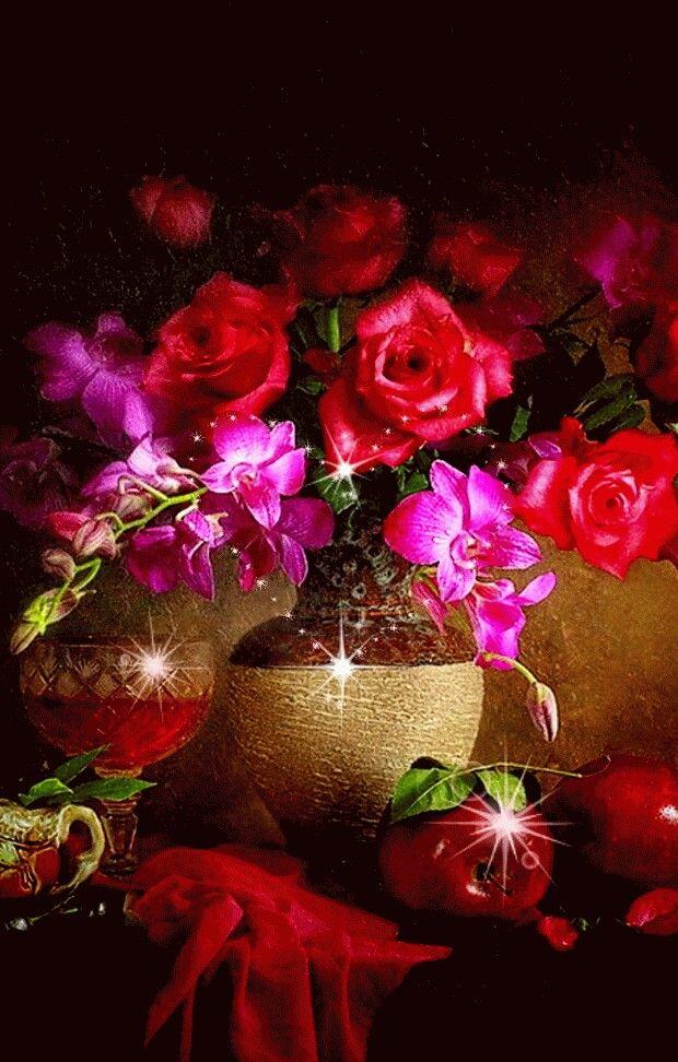 Красивые картинки с цветами гифки, днем рождения открытку