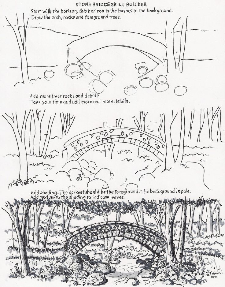 How to draw a stone bridge (http://drawinglessonsfortheyoungartist.blogspot.com/2011/11/how-to-draw-arch-stone-bridge.html)