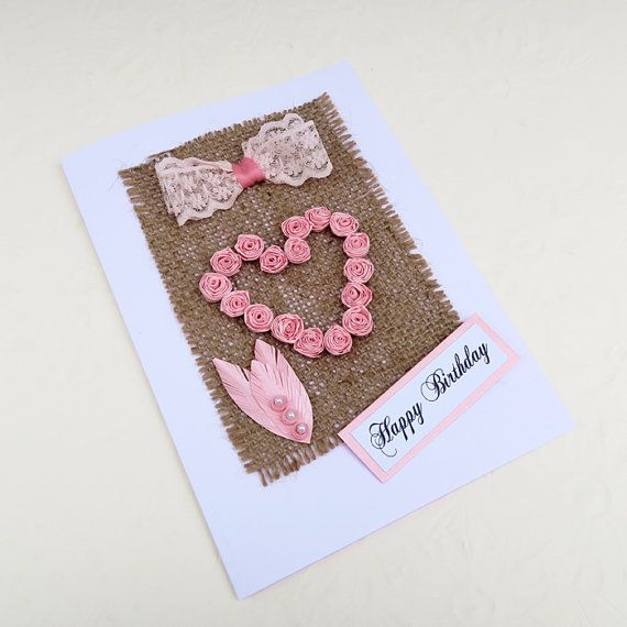 Paper Quilled Heart Card Burlap Rustic by EnchantedQuilling