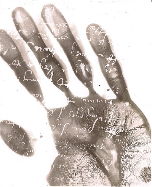 photogram photography hand black and white calligraphy