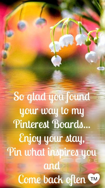 So glad you found your way to my boards... Enjoy your stay, pin what inspires you (No Limits) and come back often !