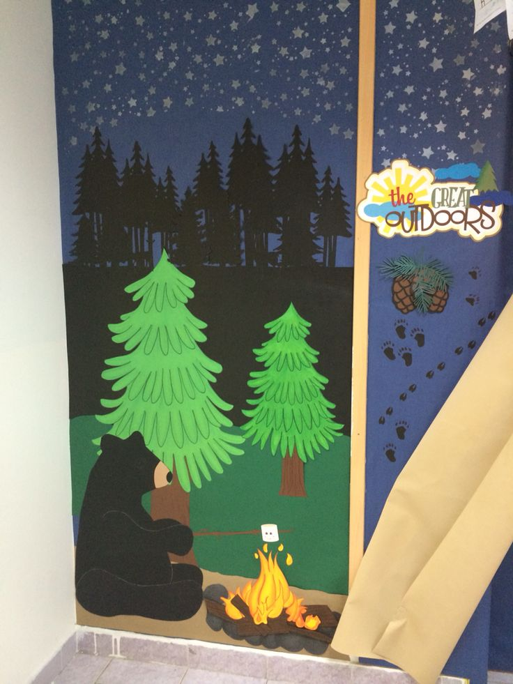 Bulletin board , camping theme.                                                                                                                                                      More