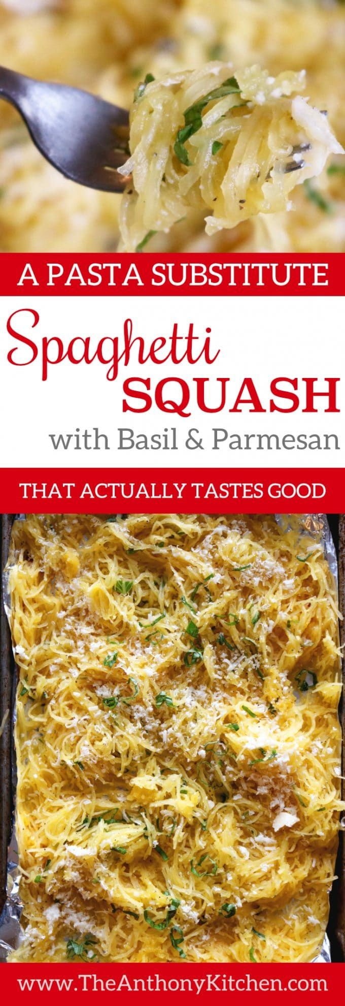 Healthy Vegetable Side Dish Recipe | A recipe for spaghetti squash featuring easy roasted spaghetti squash, fresh basil, and Parmesan cheese | #spaghettisquash #healthyrecipes #vegetablesidedish