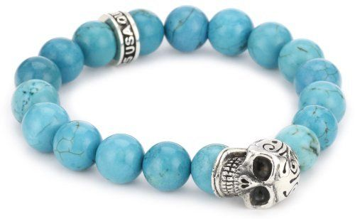 Queen Baby 10mm Turqouise Bead Bracelet with Day of the Dead Skull Queen Baby. $300.00. 10mm turquoise beads and solid sterling silver DOTD skull. Handmade in the USA. Made in USA