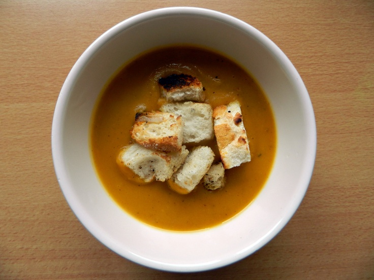 Roasted Butternut Squash And Apple Soup With Homemade Herbed