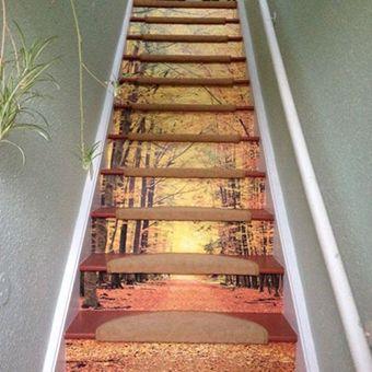 wonderful wood stair risers | ohpopsi - Making Walls Wonderful in 2019 | Wallpaper ...
