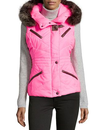 Quilted Fur-Trim Ski Jacket, Fluo Fragola (Pink) by Gorski at Neiman Marcus Last Call.