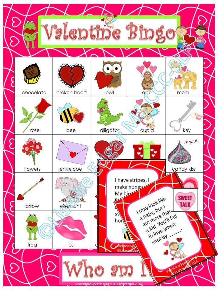 Valentine Riddle Bingo- Guess the riddles and cover the answers.Fun for 1-24 players in speech therapy, small groups or the whole classroom