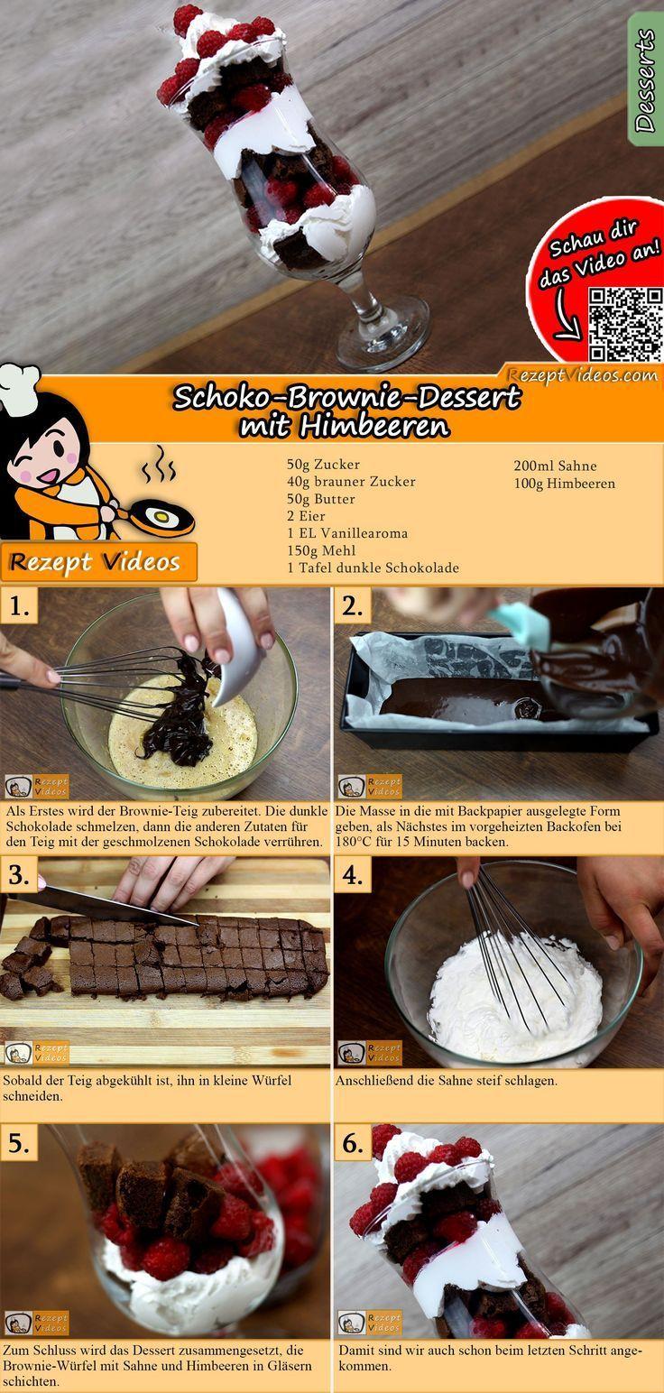 Schoko-Brownie-Dessert mit Himbeeren – #Himbeeren #mit #SchokoBrownieDessert – #…