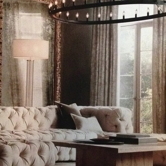 Restoration hardware 39 s soho tufted linen couch home for Couch 0 interest