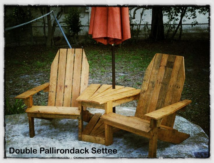 Double adirondack chairs with umbrella cool storage