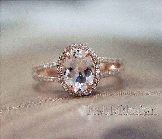 Bague en or 14K Rose bague or Halo .38ct diamant et 7 * 9mm Morganite naturels fantaisie bague bague de fiançailles pierres précieuses bague de mariage