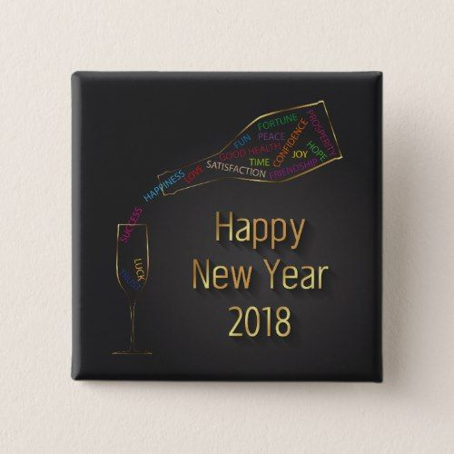 New Year 2018 Champagne Bottle Glass - Button