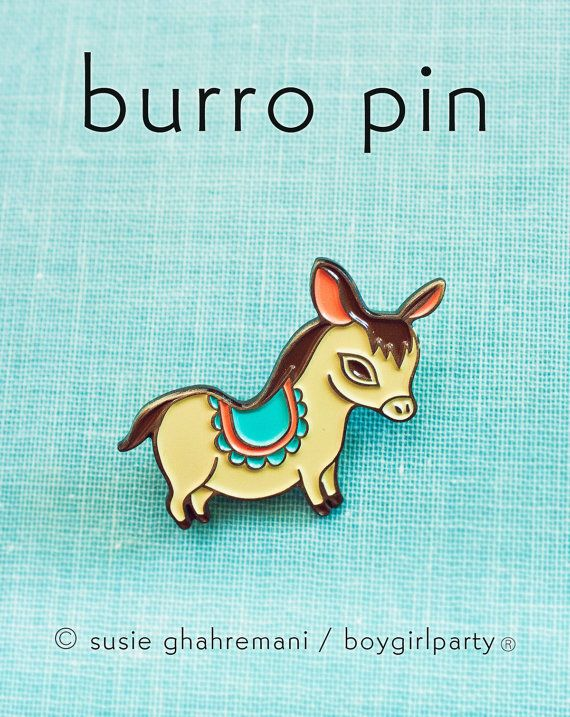 Save on shipping by ordering these pins together! Give one to a partner and keep the other, or wear each on a lapel.  Both pins are inspired by the donkeys in Mexico painted to look like zebras. Yes, that is a thing.  You will receive TWO enamel pins -- one featuring a baby zebra and another featuring a baby burro by Susie Ghahremani / boygirlparty.com Each is metal plated with a brass colored finish and soft enamel. Each measures around 1.25 wide and each pin features two butterfly clas...
