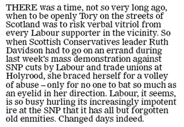 A little snippet from a corner of today's Scottish Mail On Sunday.