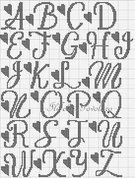 Alfabeto, alphabet charted for needlepoint or cross stitch with hearts: