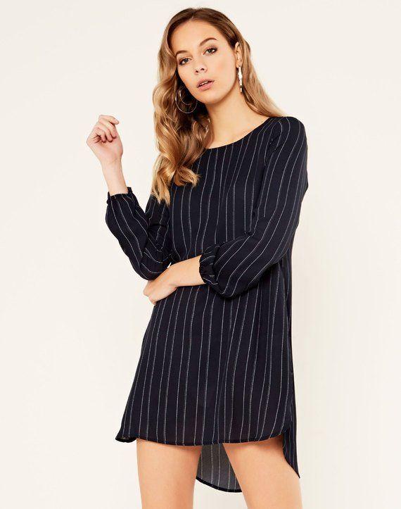 Striped Longsleeve High-Low Dress Stripe