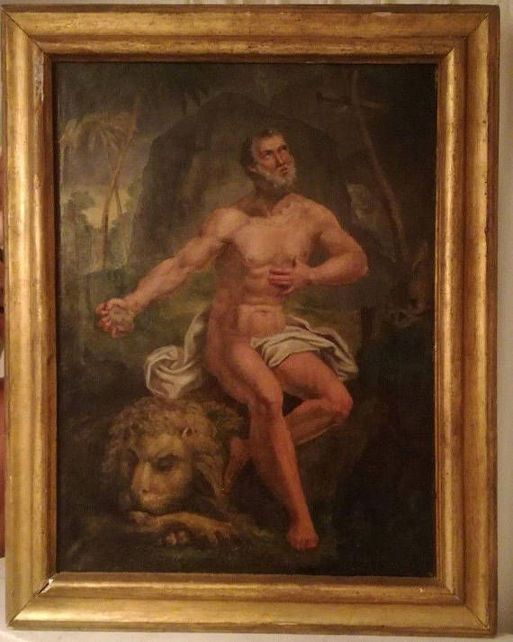 Check out this item in my Etsy shop https://www.etsy.com/listing/543960337/saint-jerome-antique-religious-painting