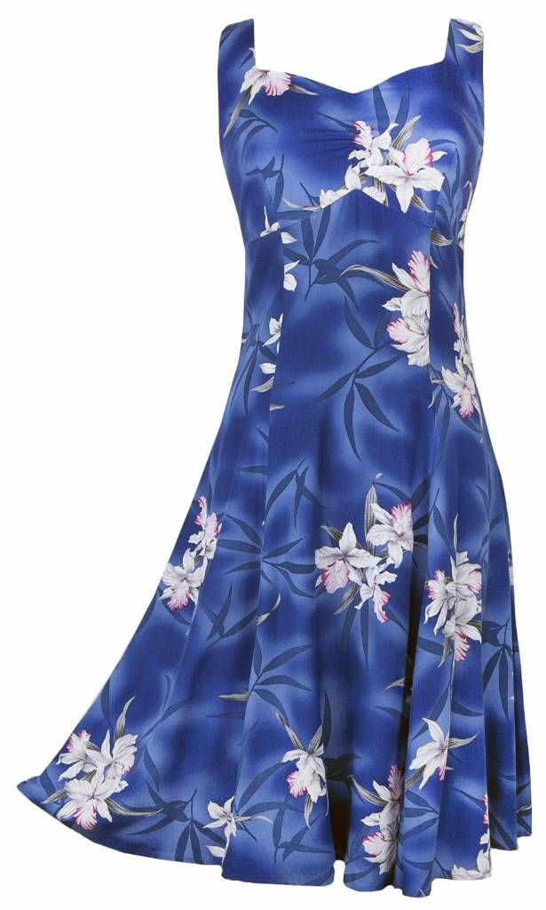 Midnight Orchid - Tropical Hawaiian Print Sun Dress - Blue (Rayon), Ladies Tropical Hawaiian Clothing, 804R-Midnight-Orchid-Blue - Paradise Clothing Company