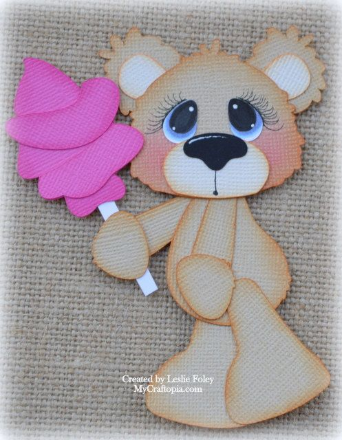 Bear with Candy Premade Scrapbooking Embellishment by MyCraftopia