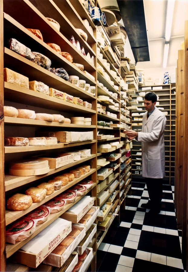 The cold storage room in a Belgian cheese shop. Www.pinterest.com/thewinediaries