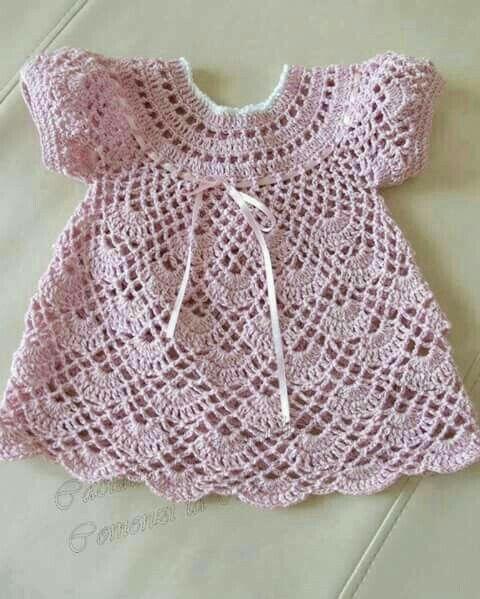 Vestidos para bebes tejidos a gancho