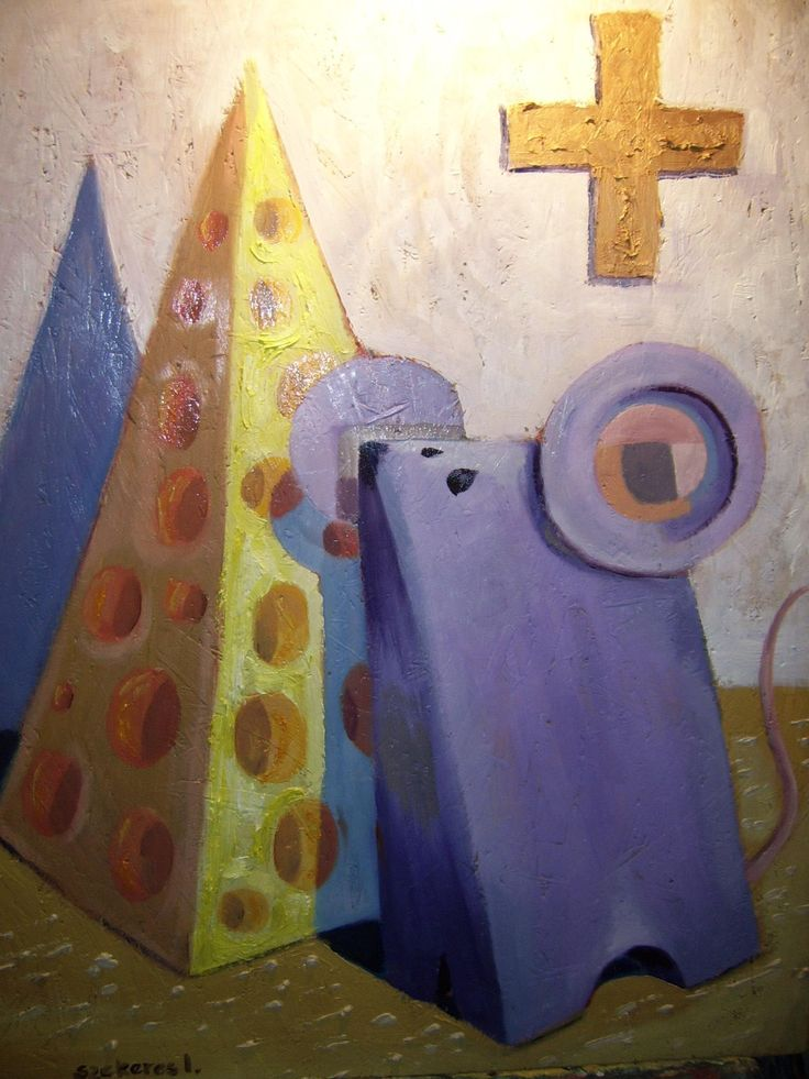 Imre Karrus Szekeres: Mouse in the Church - 2012. 80 x 70 cm, 31.5 x 27.5 inch Oil, wood-fibre Exhibited until December 2015 For sale