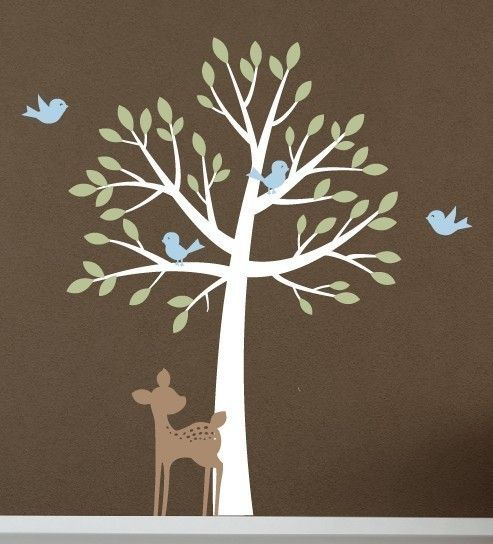 Tree with birds and fawn - Vinyl Wall Decal Set - Nursery Baby Girl Boy Children - Large Mural Tree Wall Decal. $84.00, via Etsy.