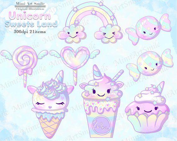 Unicorn Sweets Land Clipart Baby Unicorn Clip Art Chibi Unicorn