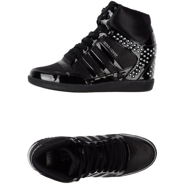 Adidas Neo High-Tops & Trainers (230 BRL) ❤ liked on Polyvore featuring shoes, sneakers, black, black sneakers, black hi top sneakers, black high top shoes, black studded high tops and black hidden wedge sneakers