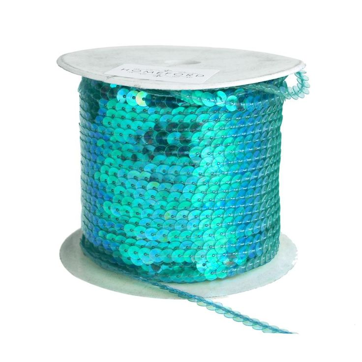 Metallic Sequins Ribbon, 1/4-Inch, 100 Yards, Aqua