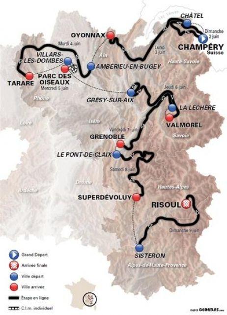 Cyclisme : Le parcours du critérium du Dauphiné-Libéré 2013