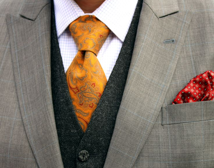"""Tie Manifesto Look 1 - Windsor Knot: Grey """"Prince of Wales"""" suit - Charcoal tweed vest - Blue tattersall shirt - Mustard Brooks Brothers tie"""
