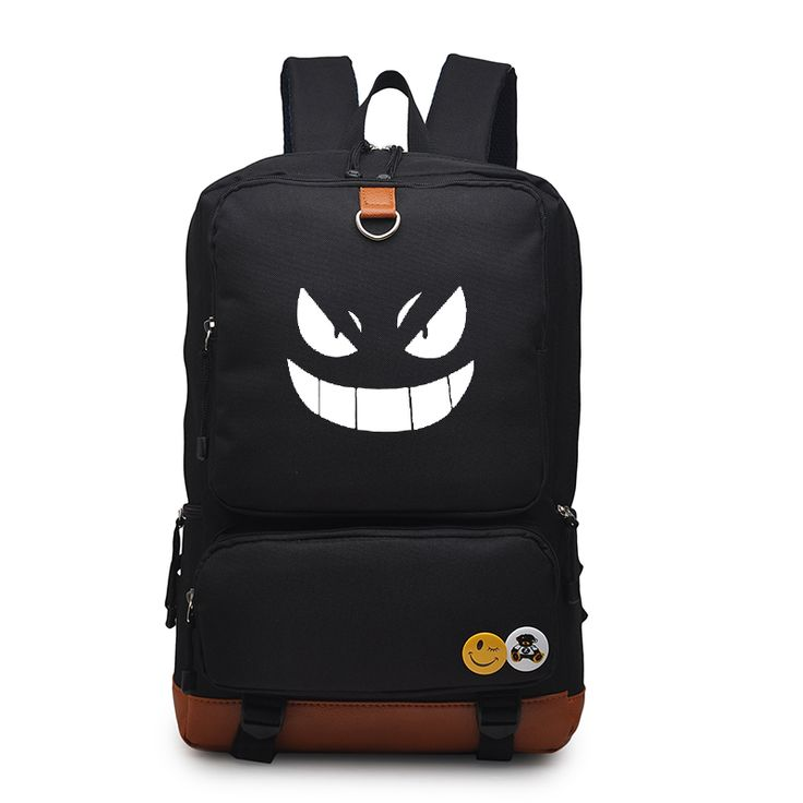 Animation Pokemon Canvas Backpack For Boys Girls Fashion Gengar Bag Large Capacity School Bag For Teenagers Laptop Backpack
