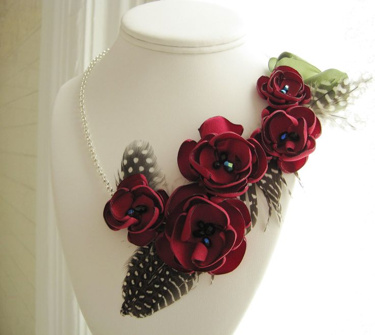 fabric flower necklace asymmetrical necklace bib style in