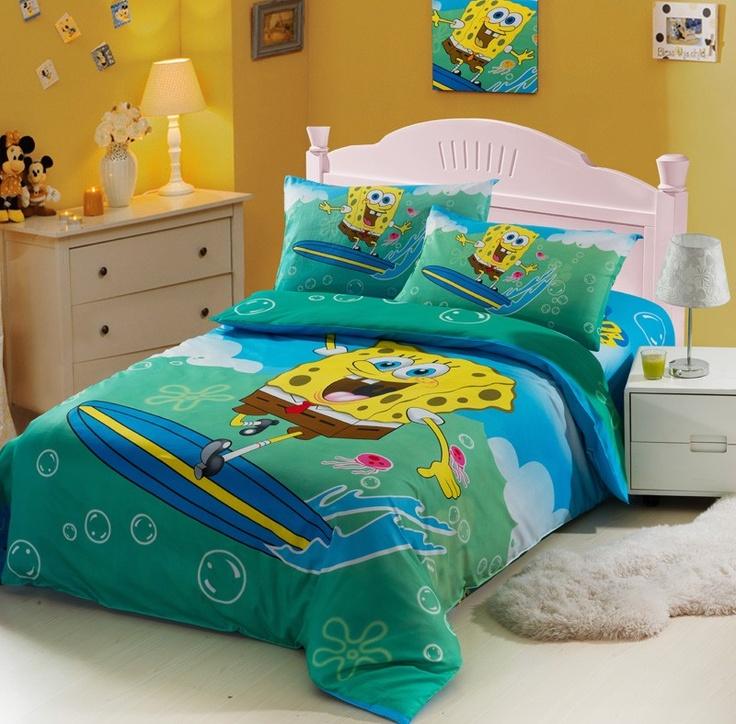 spongebob blue kids duvet cover bedding sets kais room pinterest