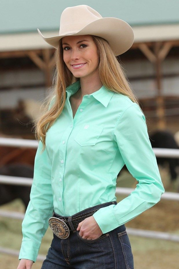 Cinch Women S Solid Mint Green Button Up Western Shirt Country Girls Outfits Cowgirl Shirts Cowgirl Outfits