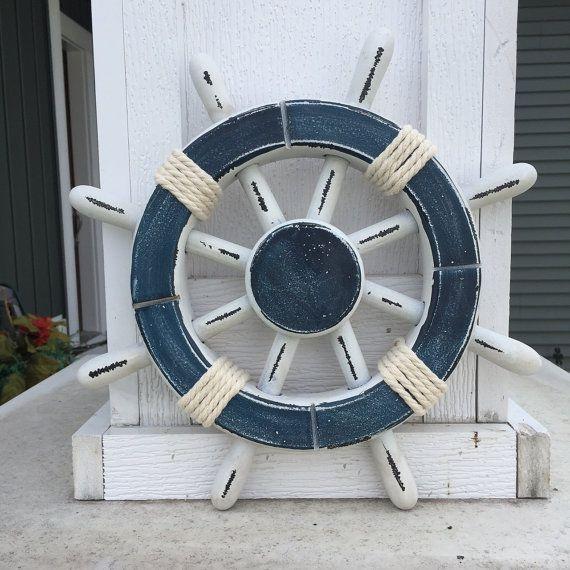 Rustic White and Dark Blue Nautical Ship Wheel by ParadiseDecor