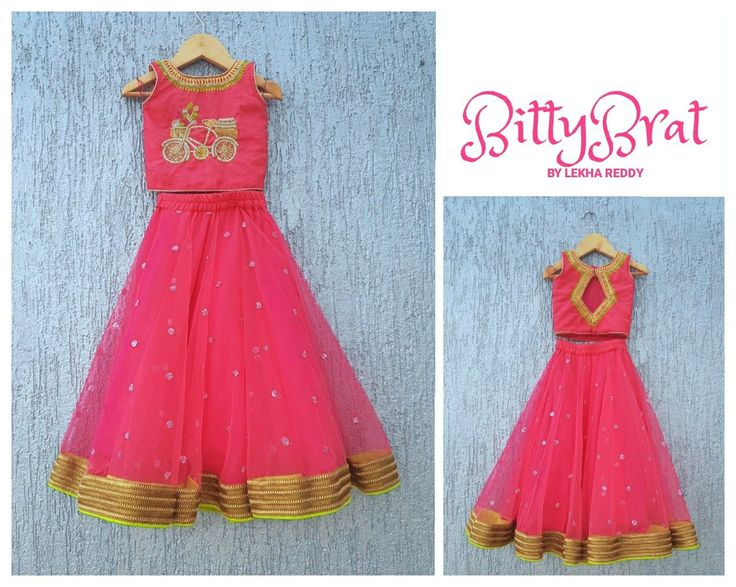 Hot pink lehanga with touch of green..!!! Beautiful pink color lehenga and parikini with western cycle design hand embroidery thread work DRESS CODE: LR-BB 10For quotes please email lekhareddydesigns@gmail.com or Whatsapp/ call on +91 8790797505 . 12 August 2017