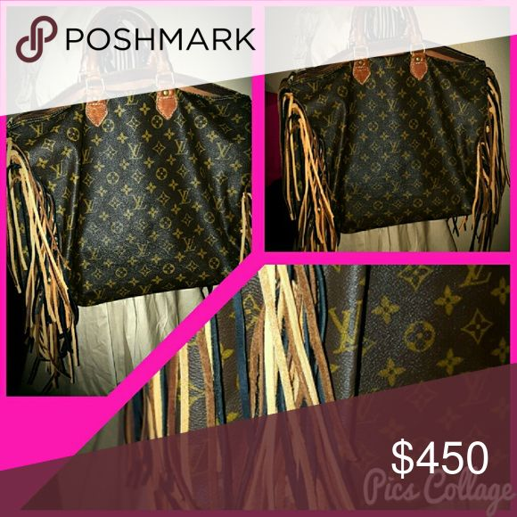 Authentic Vintage Louis Vuitton Speedy 40 Fully customized long multi colored fringe added Louis Vuitton Bags Hobos